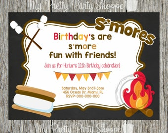 Fire pit invitation etsy birthday party bonfire fire pit smore smores camp camping birthday neighborhood party get together invitation invite stopboris Gallery