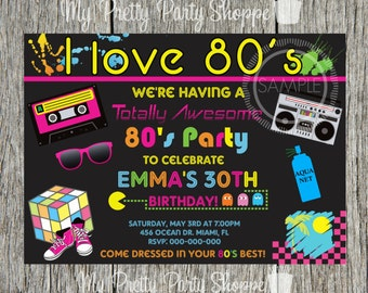 80s Party I Love The Totally Birthday Invitation