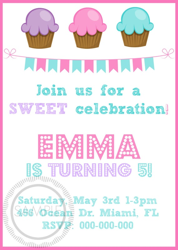 Cupcake birthday party invitation etsy image 0 filmwisefo