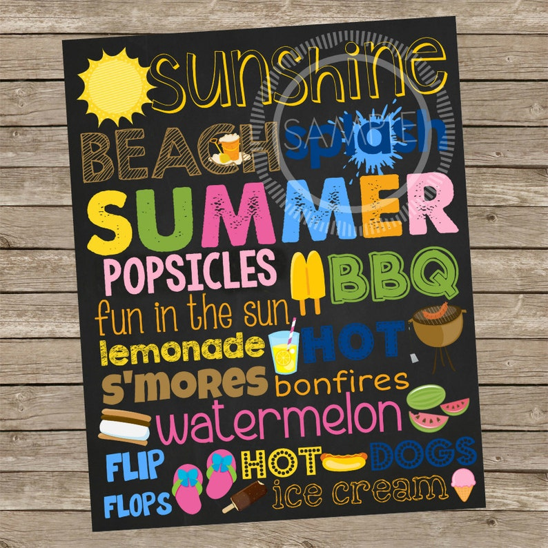image regarding Subway Art Printable referred to as 8x10 Summertime Chalkboard Subway Artwork Printable Signal *Instantaneous Obtain*