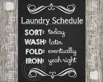8x10 Laundry Room / Laundry Schedule Printable / Wall Art / Chalkboard / Art / Sign *INSTANT DOWNLOAD*