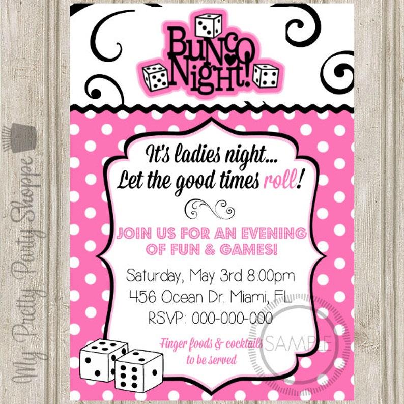 Bunco Night Ladies Night Party Invitation Etsy