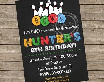 Bowling / Arcade Party / Birthday Party Invitation