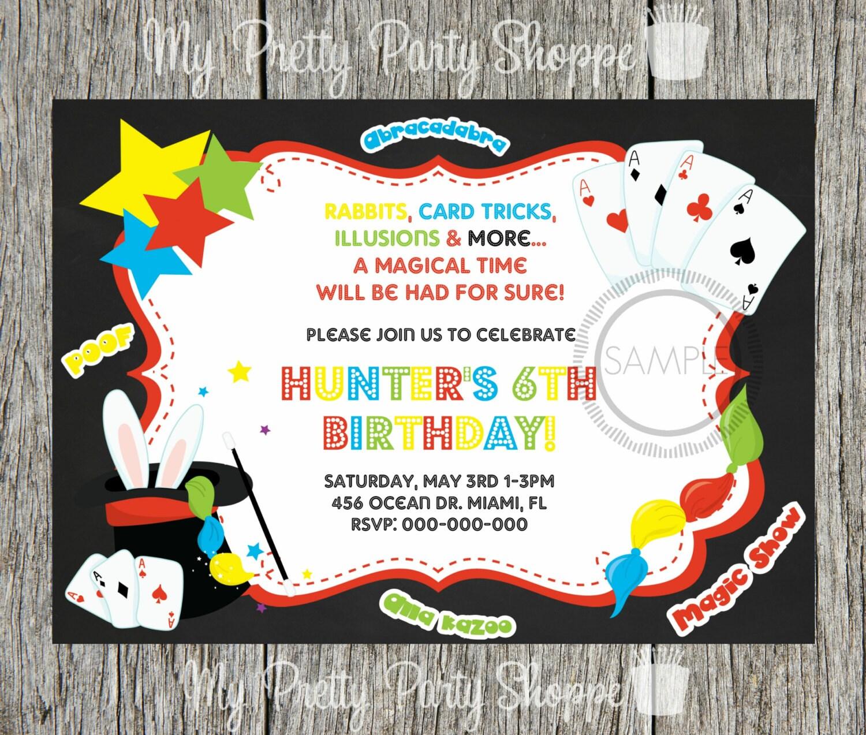 Magic / Magic Show / Magician Birthday Party Invitation | Etsy