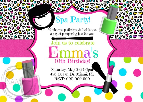 Spa Make Up Tween Teen Girl Birthday Party Invitation Etsy
