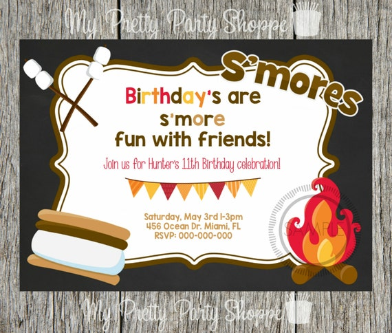 Birthday Party Bonfire Fire Pit Smore Smores