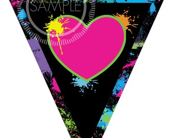 Banner / Bunting / Pennant 80's Party / I Love The 80's / Totally 80's Party Banner *INSTANT DOWNLOAD*