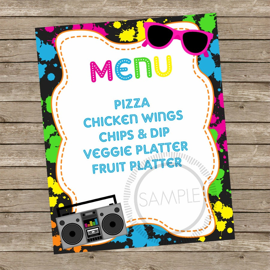 8x10 Printable Neon 80\'s Party / Birthday / Food Menu Sign | Etsy