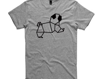 Pug Origami T-Shirt by RockPaperHeart in grey, dog geometric tee mens and womens sizes gray
