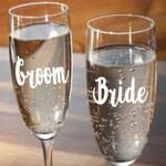 Bride and Groom  *Set of 2* Champagne Flutes or Shot Glasses Gay & Lesbian, Same Sex, LGBTQ Mr Mrs