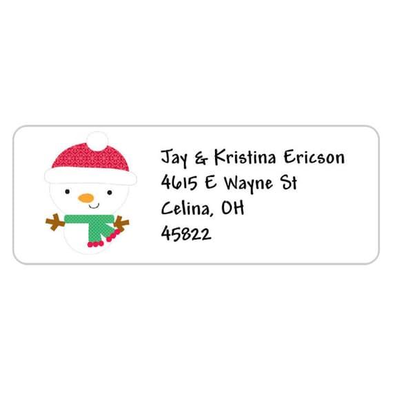 30 Custom Snowman Mail Personalized Address Labels