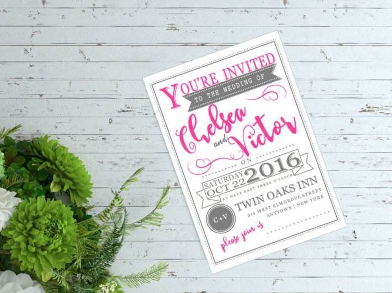 Retro Banner Typography Wedding Invitation Save the Date Engagement Announcement Bridal Shower Invite postcards 5x7 *WEDDINGS*