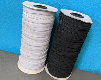 """USA 1/4 Inch Elastic ships next day 1/4"""" 6mm black or white knit multiple lengths 5 10 15 25 100 144 Yards elastic Braided Woven FAST"""