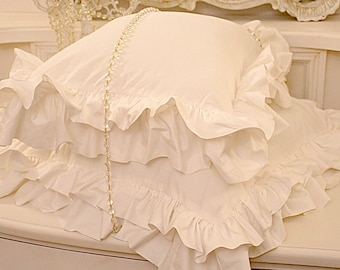 """Voilant cushion in pure cotton percalle collection """"Italian organic"""""""