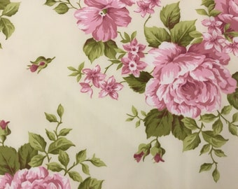 Pink Rose Cotton Satin Fabric