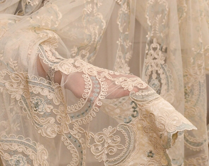 """Fabric for embroidered curtains """"MARIASOFIA"""""""" blue collection """"precious curtains"""""""