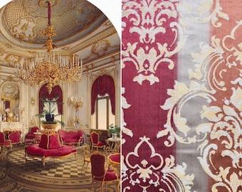Damascus fabric luxury burgundy orange