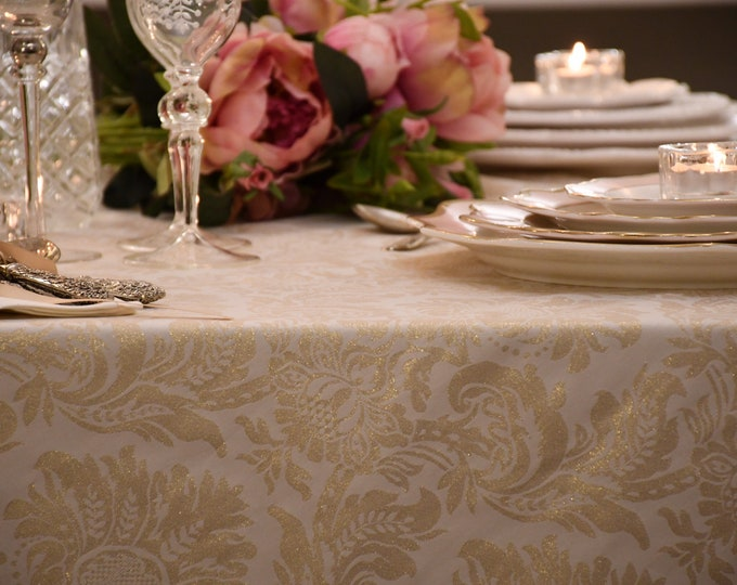 Christmas tablecloth gold lurex