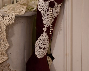 Italian luxury christmas sock burgundy velvet and precious ivory lace