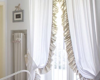 Pair of cotton curtains and linen shabbychic with Voilat made in Italy