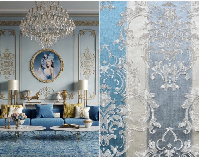 Damascus fabric luxury light blue