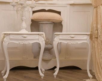 Couple of antique bedside tables 19th century Neapolitan art nouveaux