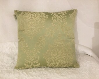 Green Damask pillow in cotton sateen