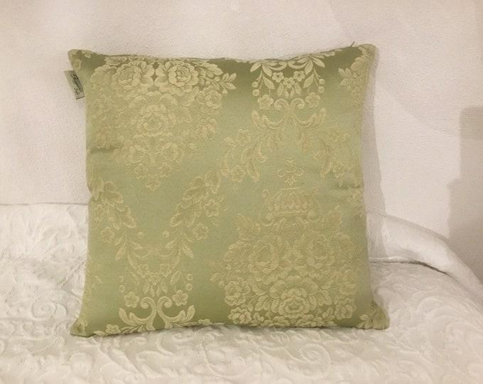 Green damask cushion in cotton shave