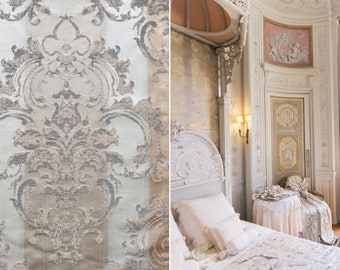 Damascus fabric luxury beige, ivory, dove
