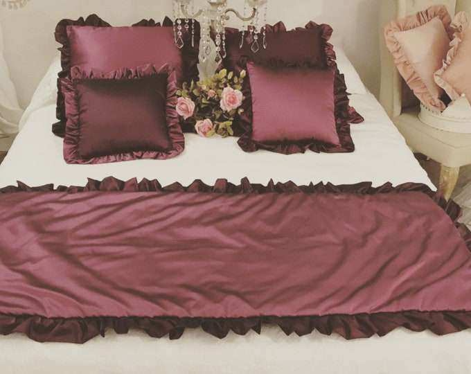Plum taffet bed runner