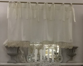 "Pure valance linen white and fine lace ""MARIACAROLINA"""