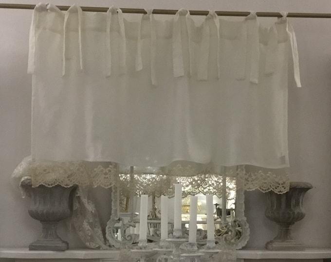 "Valance Pure white linen and precious lace ""MARIACAROLINA"""