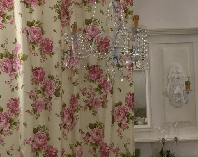 Pink Flower Curtains Shabbychic