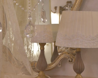 Romantic silk and white lace lampshade