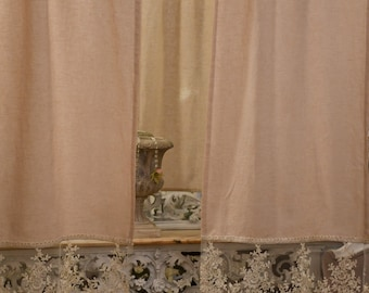 "Glass curtain in Linen and precious lace ""Maria Carolina"""