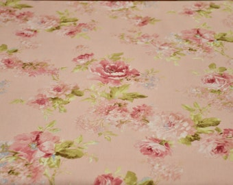 Pink bottom floral cotton fabric