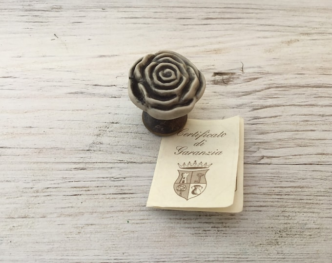 "Antique Carved Stone Knob ""Rosa"""