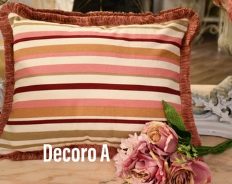 Striped cushion with trimmings
