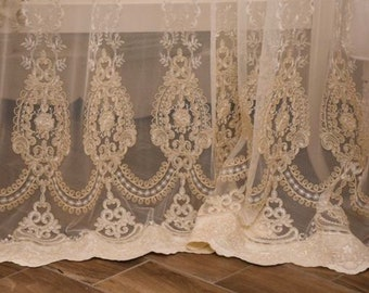 """Fabric for tulle curtains embroidered collection """"precious curtains"""""""