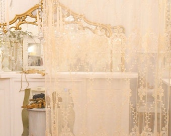 Wonderful lace embroidery tent antique ivory