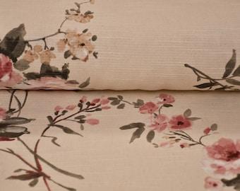 Provenive floral fabric beige background