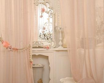 """Romantic pink curtains and read """"MARIASOFIA"""""""