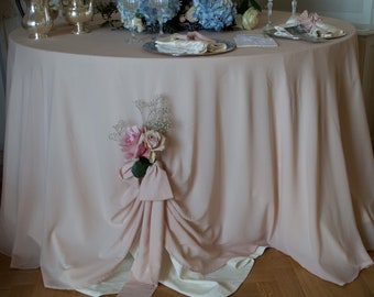 Wedding tablecloth for events in pure Georgetta pale old rose