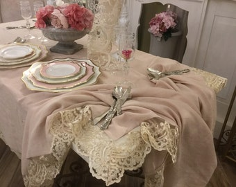 "Elegant and refined tablecloth in pure linen pink and precious Lace ""MARIACAROLINA"""