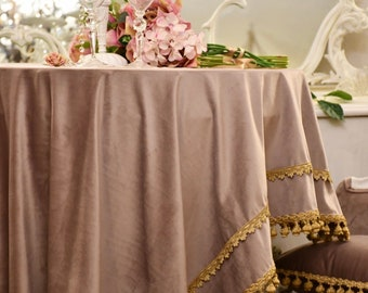 """Table cover collection """"Duchessa"""" fine velvet and antique gold trimming lilac/blú pink and burgundy"""