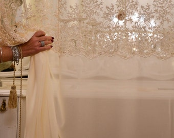 Curtain in white georgette / ivory and precious lace Made in Italy
