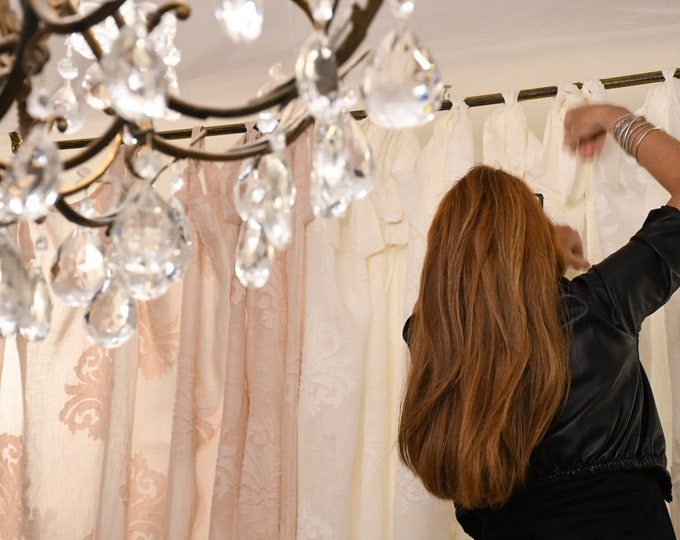 """Linen curtain decorated with flakes collection """"Organic Italian"""""""