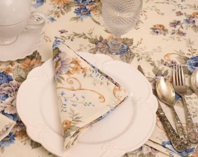 Blue Rose Vintage Napkin Set