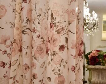 Rose flower tent, peonies, magnolias, ortense in pure Italian organic cotton