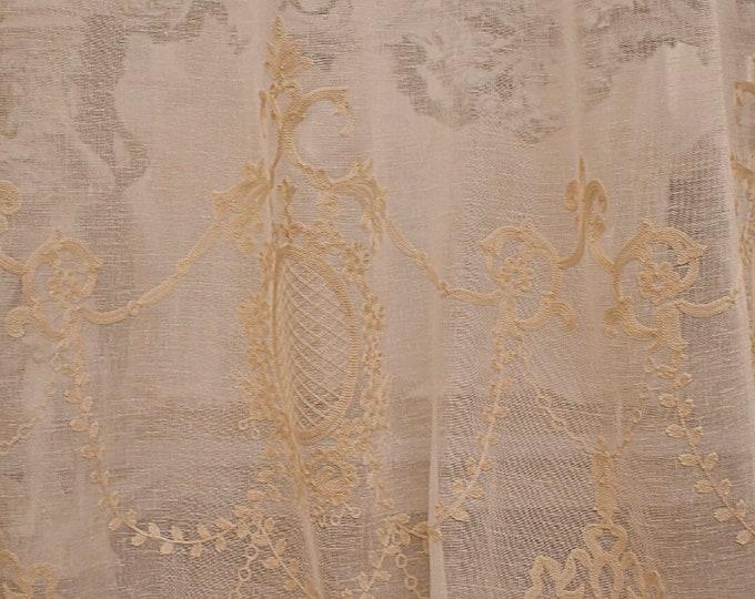"""Linen curtain """"Versailles Agatha """" beige"""